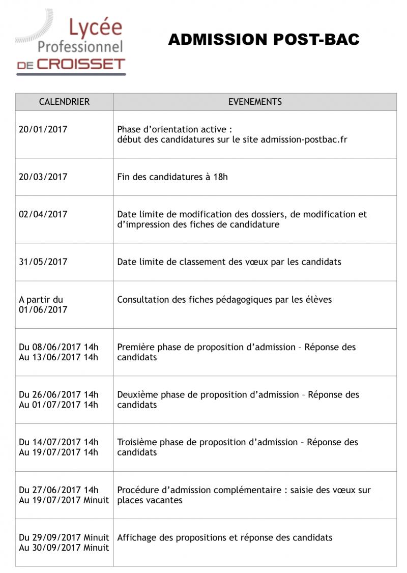 Procedure D Admission Post Bac Lycee Professionnel Francis De Croisset
